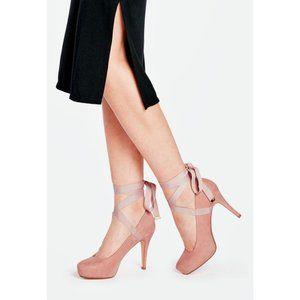 JustFab Klara Ribbon Lace Up Pink Suede Pumps